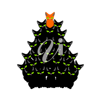 cats Christmas tree. Spruce of pet. fir-tree from cat. New Year illustration. Hmas pattern of cute animal