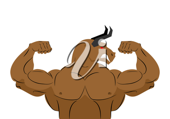 Angry bull strong athlete. Aggressive fitness animal. Wild animal bodybuilder with huge muscles. Bodybuilder with horns. Sports team mascot