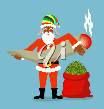 Rasta Santa Claus wishes. Big Red sack hemp . Bag of marijuana. Pile of green cannabis. great joint or spliff. Smoking drug. Cheerful grandfather with dreadlocks and Rastafarian hat. New Year in Jamai