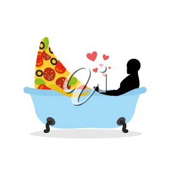 I love food. Piece of pizza and man in bath. Man and pizza is taking bath. Joint bathing. Passion feelings among lovers. Romantic illustration food wash with currency. life gourmet