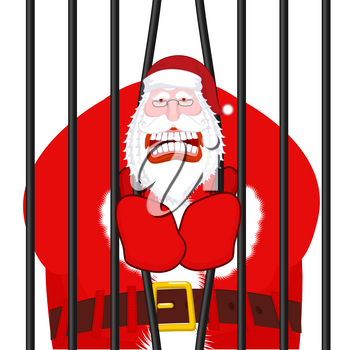 Santa Claus gangster. Christmas in prison. Window in prison with bars. Bad Santa prisoner criminal. New year is canceled. Jail break.