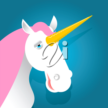 Unicorn fabulous beast with horn. Magic animal with pink mane on blue background
