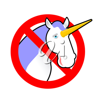 Ban unicorn. Stop magical animal. Prohibited sexual symbol LGBT community. Strikethrough magic beast with horn. Emblem against gay and lesbian people. Red prohibition sign