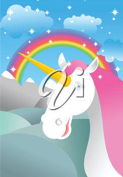 Unicorn on landscape. Rainbow, Fields and meadows. Clouds and sky. Magic animal in nature