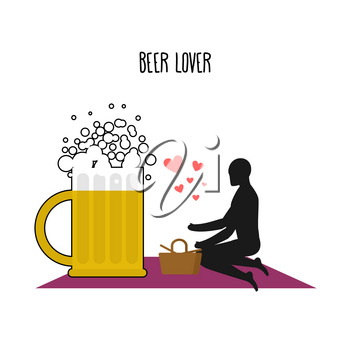Beer lover. Lovers on picnic. Rendezvous in Park. Mug of beer and people. Rural jaunt lovers. Meal in nature. Plaid and basket for food on lawn. Romantic illustration alcohol