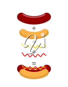 Recipe for hot dog. Production of hot dogs. Mathematical formula for fast food. Bun plus sausage, plus mustard and ketchup