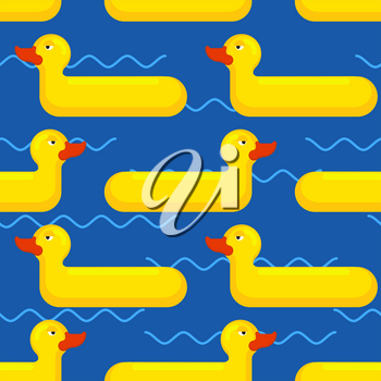 Inflatable duck Seamless pattern. toy for swimming background