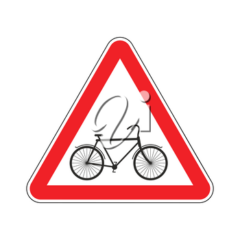 Attention cyclist. bicycle on red triangle. Road sign Caution bicyclist