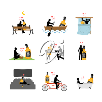 Lover alcohol drink set. Man and whiskey in movie theater. Lovers in bath. Romantic rendezvous. boat. person sitting on bench. Joint walk. Cycling tandem. Breakfast in cafe. Picnic in park. sleeping in bed. Alcoholic Lifestyle