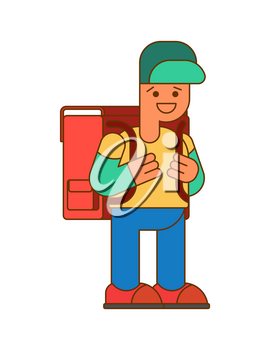 Back to school.  Boy and big  schoolbag. Illustration for September 1. Schoolboy goes to school With Backpacks