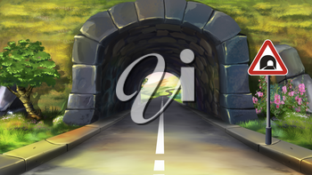 Digital painting of the Mountain tunnel.