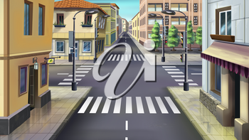 Digital painting of the city streets. Crossroads, traffic light, crosswalk.