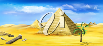 Digital painting of the Egyptian pyramids - one of the wonders of the world.