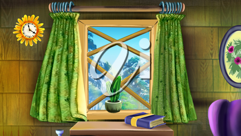 Digital painting of the window. Indoor. forest view