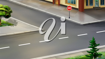Digital painting of the urban crossroads. STOP road sign.