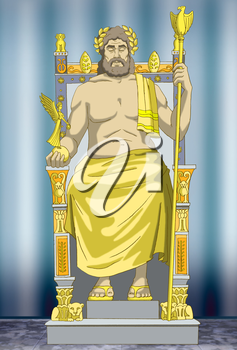 Statue of Zeus. Wonders of the world. Digital Painting Background, Illustration in cartoon style character.