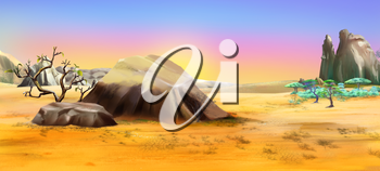 African landscape with large stones on the background of dawn in a Summertime. Digital Painting Background, Illustration in cartoon style character.