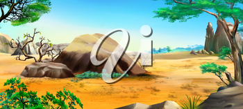 African landscape with blue sky and big stones in a Summer Day. Digital Painting Background, Illustration in cartoon style character.
