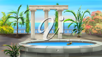 Ancient Colonnade in a summer day. Background, Illustration in cartoon style character.