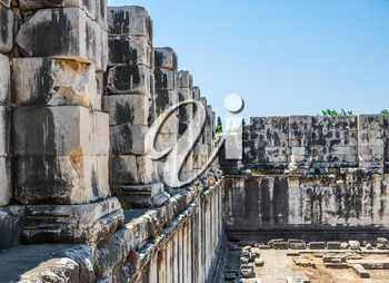 Ruins of the interior of the temple of Apollo at Didyma. Panoramic view on a sunny summer day