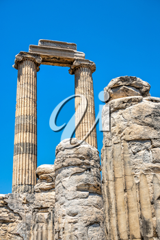 Broken Columns in the Temple of Apollo at Didyma, Turkey, on a sunny summer day