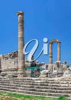 Broken Ionic Columns in the Temple of Apollo at Didyma, Turkey, on a sunny summer day