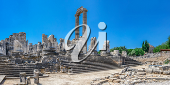 The Temple of Apollo at Didyma, Turkey. Panoramic view on a sunny summer day