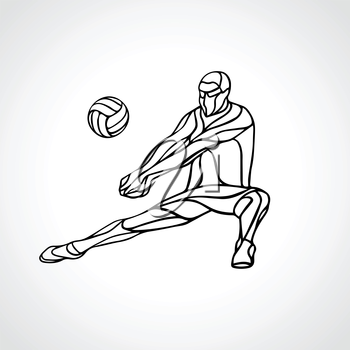 Volleyball player receiving feed. Outline silhouette of a abstract volleyball player returning a ball with a dig. Vector clipart illustration. Eps 8