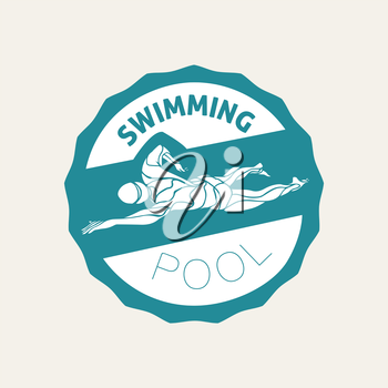 Swimming Club Logo Template. Swimmer icon Clipart. Creative Crawl Swimmer Vector.
