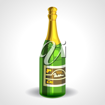 champagne bottle with gold foil isolated on white background
