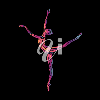Creative silhouette of gymnastic girl. Art gymnastics woman, illustration or banner template in trendy abstract colorful neon waves style on black background