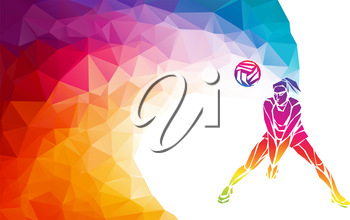 Creative silhouette of volleyball player receiving a ball. Beach sport, colorful vector illustration with background or banner template in trendy abstract colorful polygon geometric style and rainbow