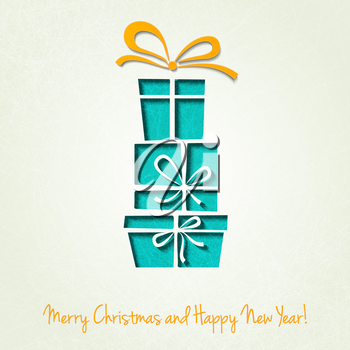 Vector Merry Christmas Paper greeting card. EPS 10