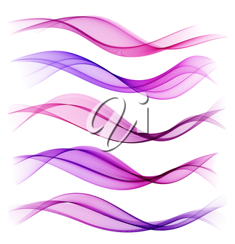 Set of blend abstract wave. Vector wavy smoke lines. Purple and pink color