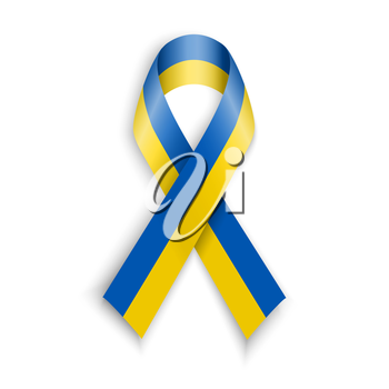 Yellow blue colors of the national flag of Ukraine. Support or patriotic ukranian ribbon