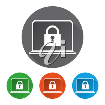 Security icons set with computer vector illustration