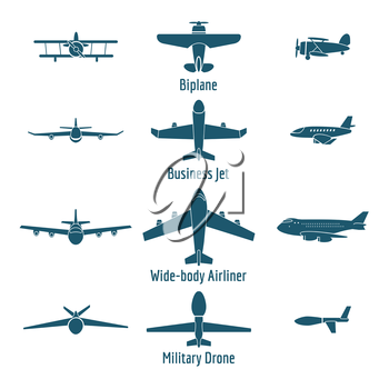 Different airplanes types. Retro plane and business jet, passenger plane and military drone. Vector illustration
