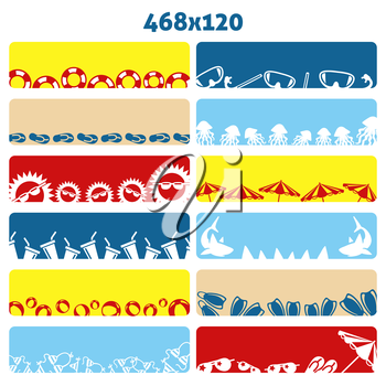 Summer flat web banners collection with accessories. Vector illustration