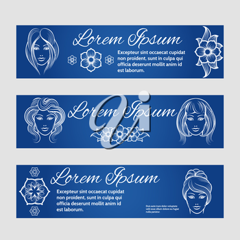 Web banners set with woman and floral decorative elements for barber, beauty parlor. Vector illustration