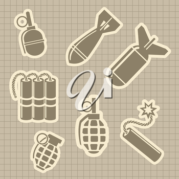 Military rocket dynamit and hand grenades vector. Military stickers on vintage notebook page