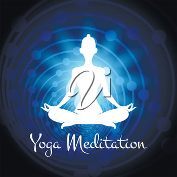 Meditation yoga woman silhouette on cosmic background. Vector illustration
