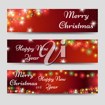 Christmas and new year banners template with garlands on red backdrop. Vector illustration