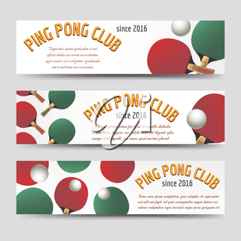 Sport banners set vector illustration. Horizontal ping pong banners
