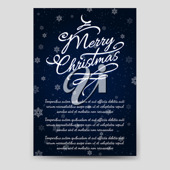 Winter brochure flyer template with snowflakes and snowfall. Christmas poster design vector illustration