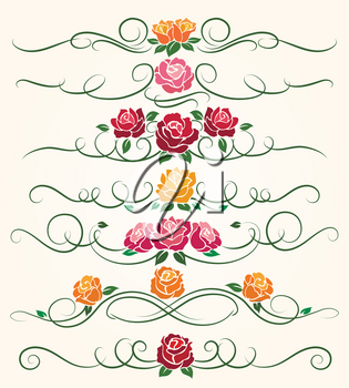 Decorative flourish borders and rose flower dividers calligraphic ornaments for spring invitations vector illustration