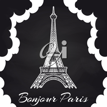 Chalkboard Paris poster with Eiffel tower, clouds. Vector illustration