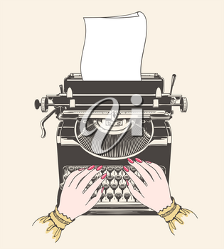 Copywriter concept. Copywriting or blogging vector illustration with vintage typewriter and author hands
