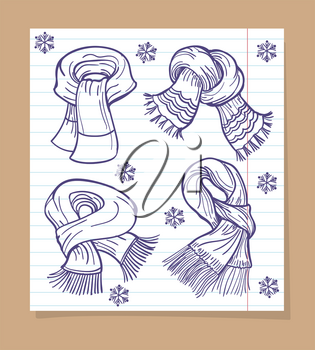 Sketch on ballpoint pen scarves and snowflakes on line page. Vector illustration