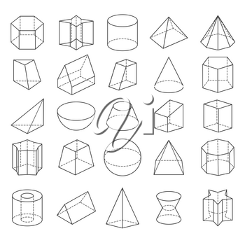 Abstract geometric shapes. Vector 3d crystals from icons isolated on white background