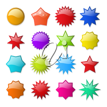 Starburst shapes. Circle star burst shape promo stickers, blank sale vector price tags isolated on white background